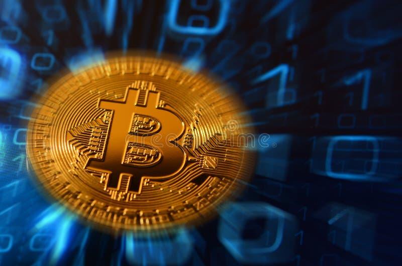 Close up do bitcoin phisical sobre o fundo abstrato ilustração do vetor