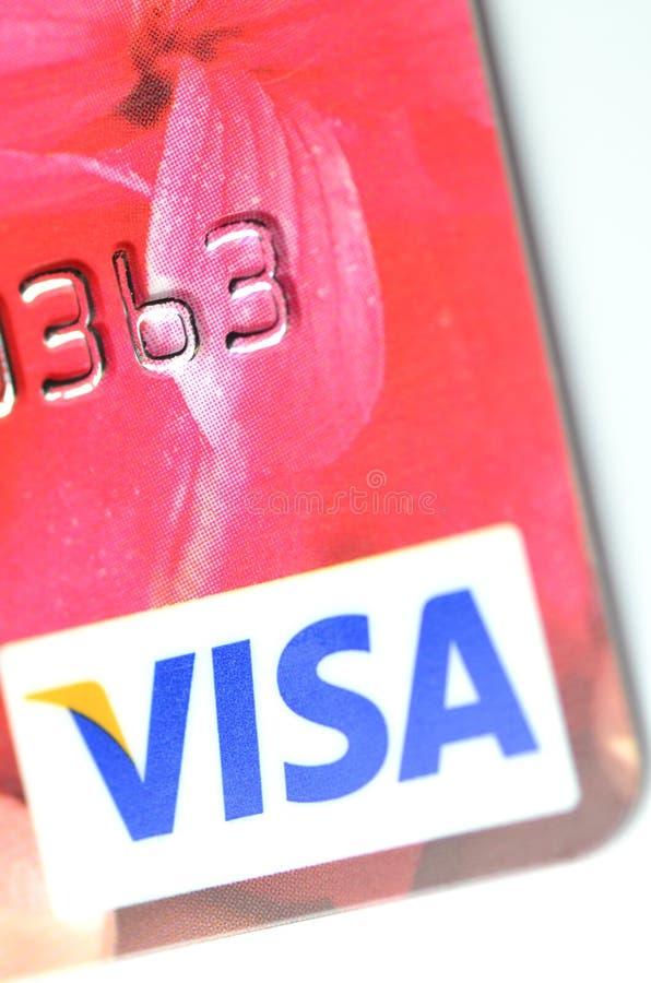 Close up do cartão de crédito do VISTO foto de stock