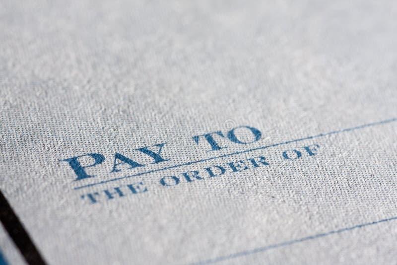 Close up do cheque imagem de stock royalty free