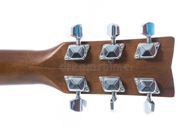 Close up do detalhe da guitarra clássica principal fotografia de stock royalty free