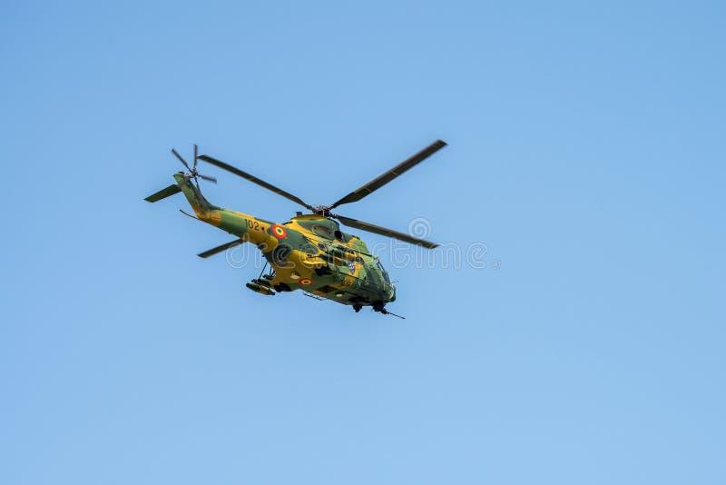 Close up do detalhe do helicóptero de Socat do puma de IAR 330 no festival aéreo em Romênia fotografia de stock royalty free