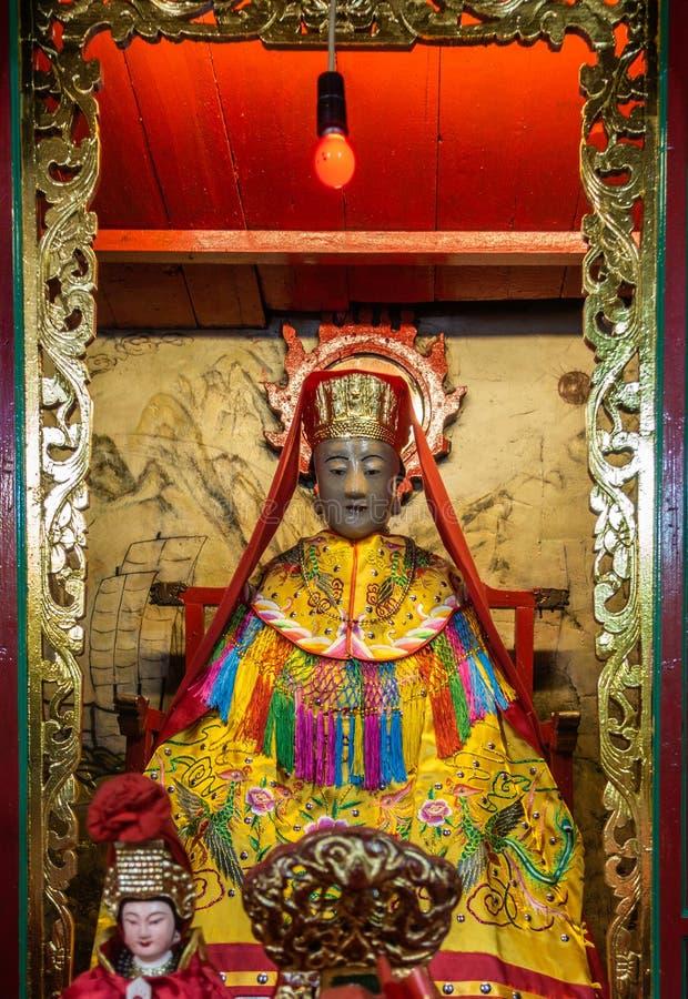 Close up do deus do mar no templo de Kwan Tai Taoist em TAI O, Hong Kong China fotografia de stock