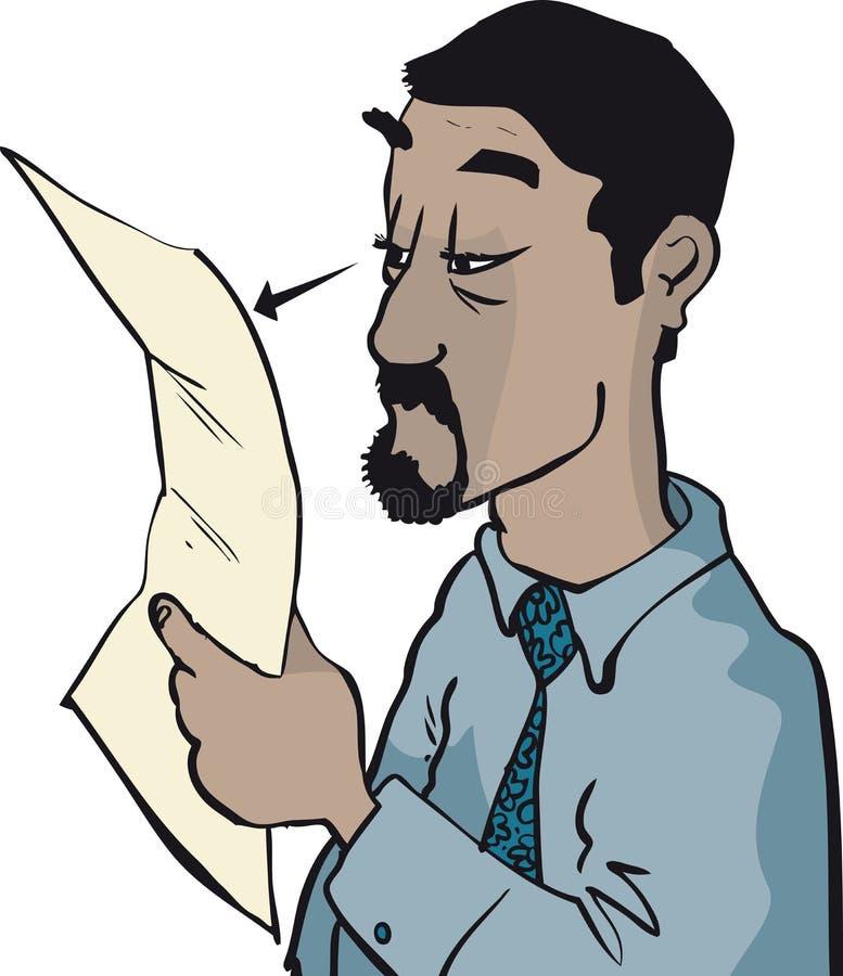 Close up do documento da leitura do homem ilustração do vetor