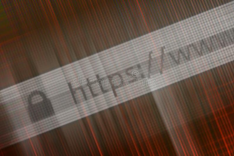 Close up do endereço do HTTP no web browser nas máscaras do vermelho ilustração do vetor