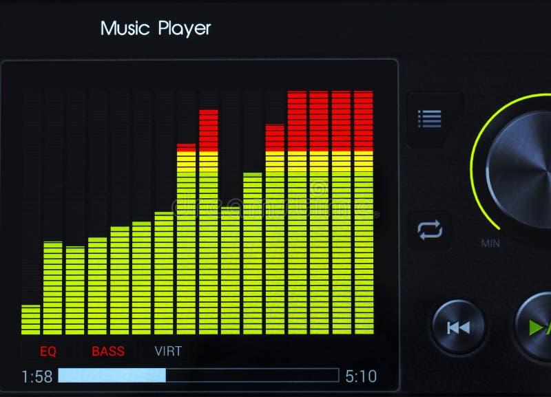 Close-up do equalizador do jogador de música do gráfico de cor fotos de stock royalty free