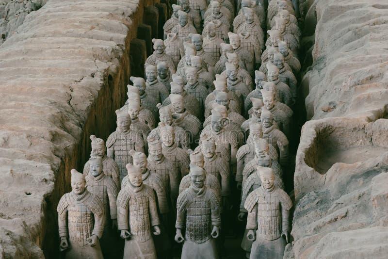 Close-up do exército famoso da terracota dos guerreiros em Xian, China fotos de stock