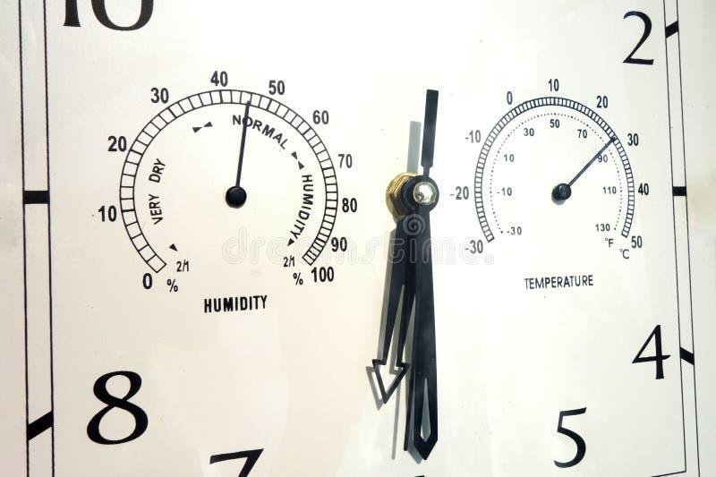 Close up do instrumento combinado do indicador para medir e controlar o tempo, a umidade e a temperatura Multiscale enfrenta do d foto de stock royalty free