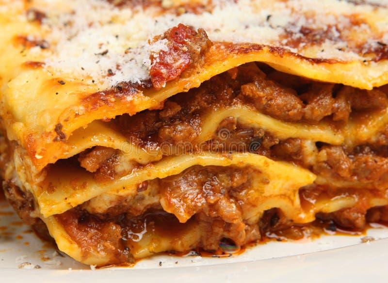 Close-up do Lasagna da carne fotografia de stock