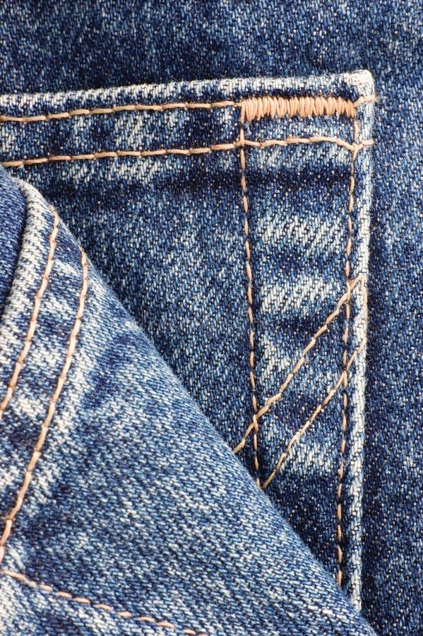 Close up do macro do detalhe do bolso de calças de ganga da sarja de Nimes ilustração stock
