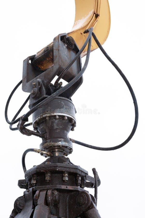 Close-up do mecanismo de prender a cubeta da parte superior em t foto de stock