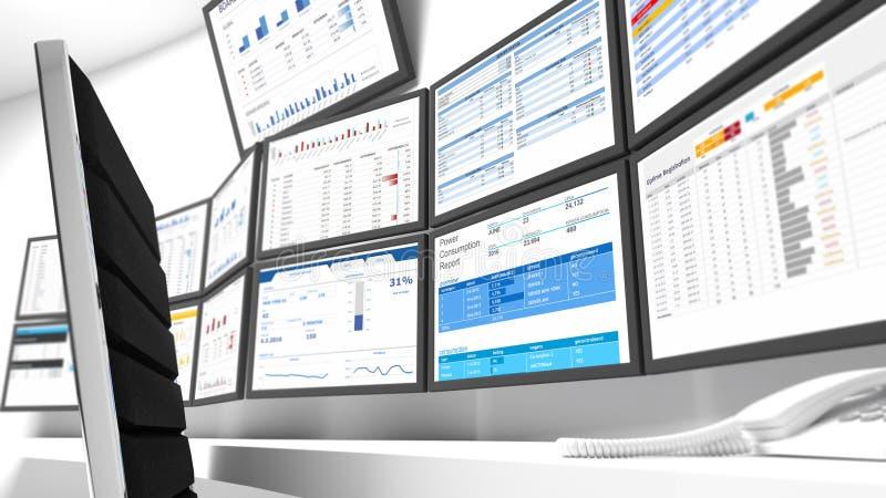 Close-up do Network Operations Center ilustração stock