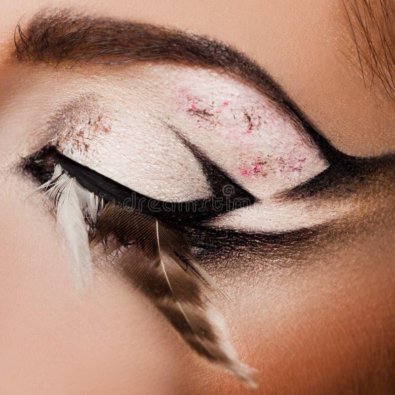 Close-up do olho bonito fotografia de stock