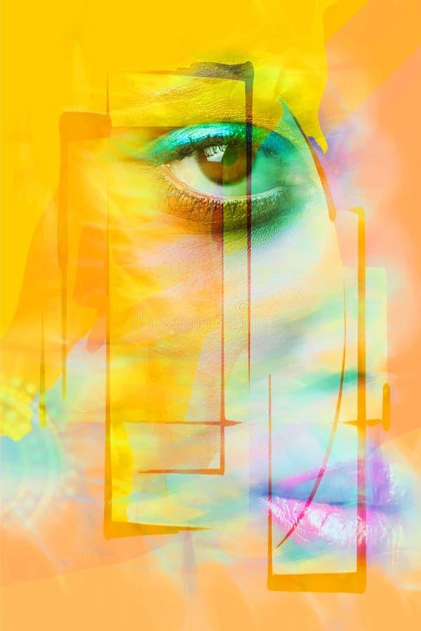Close up do olho da cara da mulher e da foto composta dos bordos fotos de stock