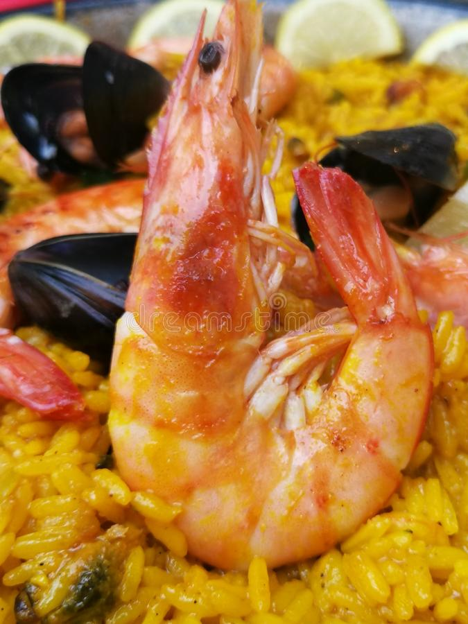 Close up do paella do marisco imagens de stock