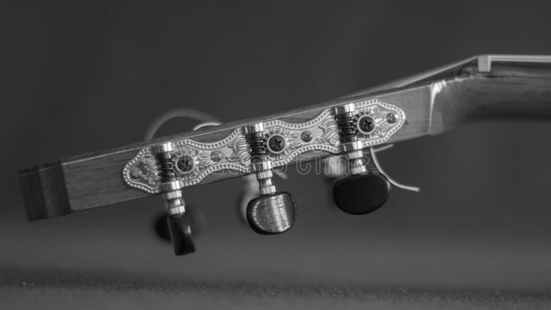 Close-up do pegbox de uma guitarra acústica fotografia de stock royalty free