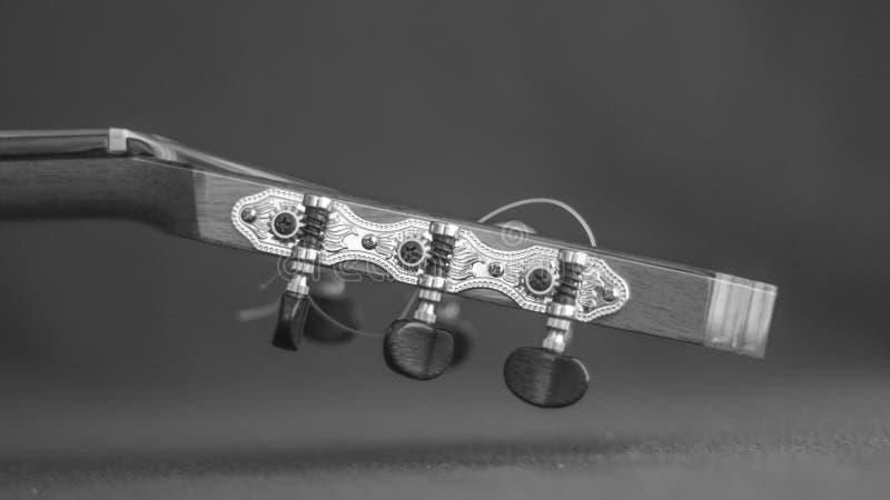 Close-up do pegbox de uma guitarra acústica imagens de stock royalty free