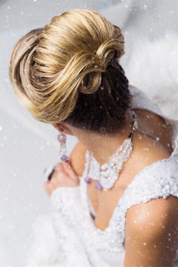 Close-up do penteado nupcial de Babette fotografia de stock royalty free
