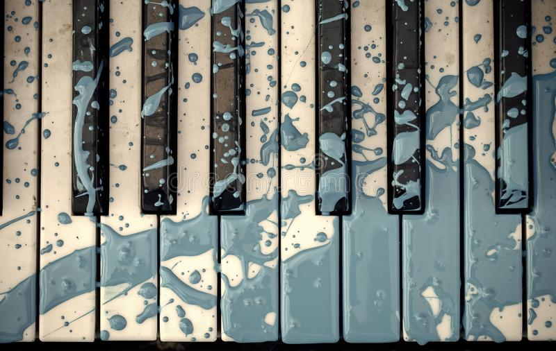 Close up do piano velho pintado azul decorado imagem de stock royalty free