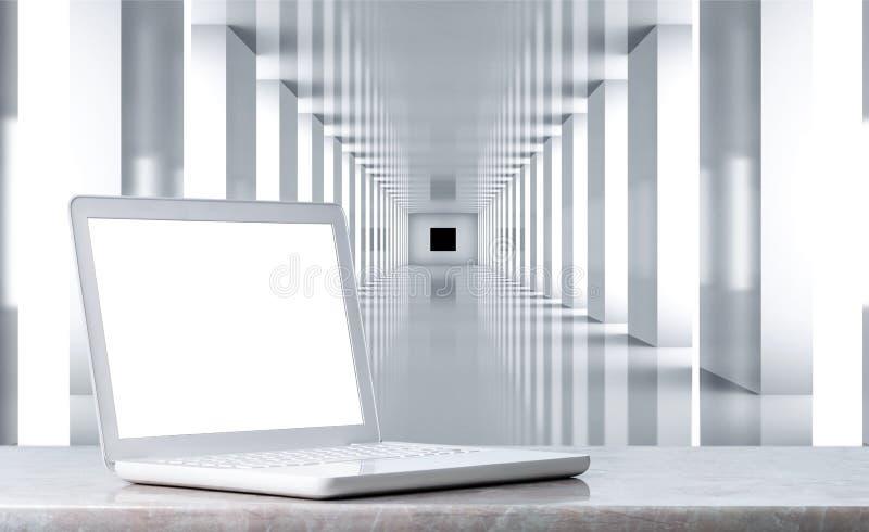 Close-up do portátil aberto do branco no fundo moderno ilustração do vetor