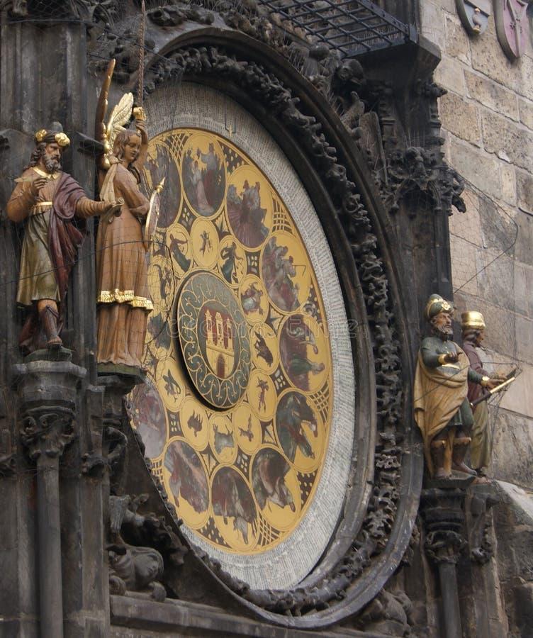 Close up do pulso de disparo astronômico de Praga & do x22; Orloj& x22; fotos de stock royalty free