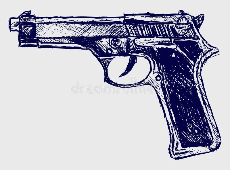 Download Close-up do revólver ilustração do vetor. Ilustração de linha - 26513694
