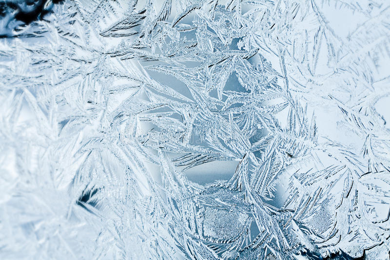 Close up do struction de Frost em uma janela fotografia de stock