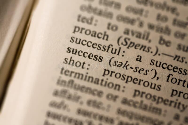 Close up do sucesso da palavra imagem de stock