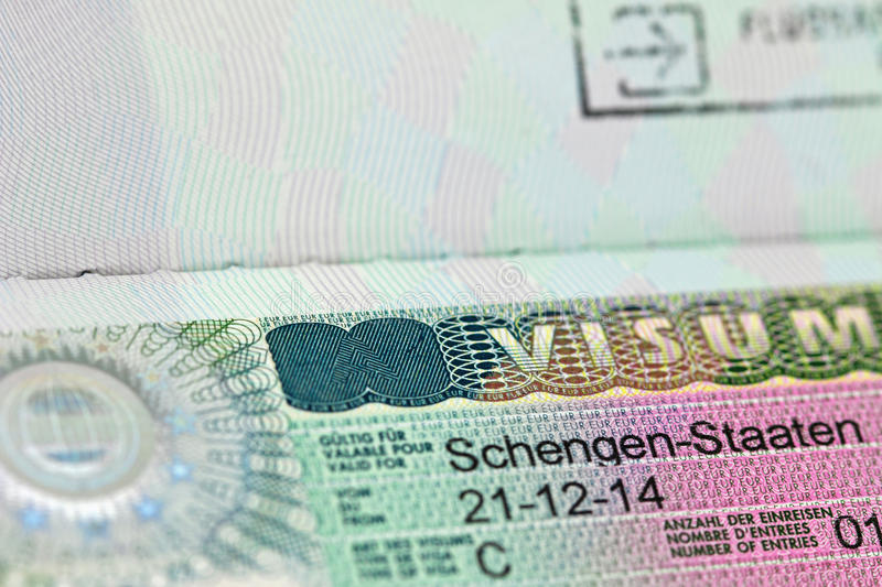 Close up do visto de Schengen imagem de stock