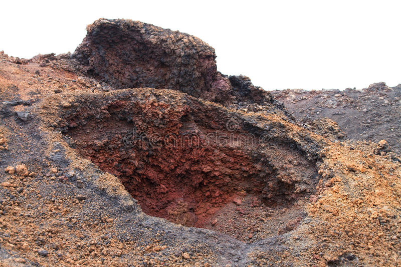 Close up do vulcano da caixa em Lanzarote imagens de stock