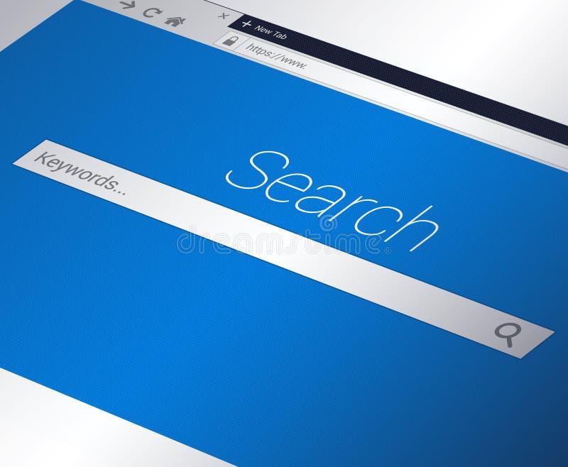 Close-up do web browser com barra do Search Engine e barra do endereço ilustração stock