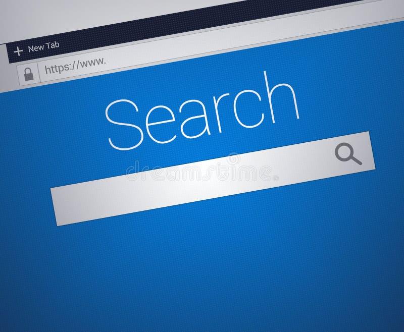 Close-up do web browser com a barra segura do endereço e a barra do campo de busca ilustração royalty free