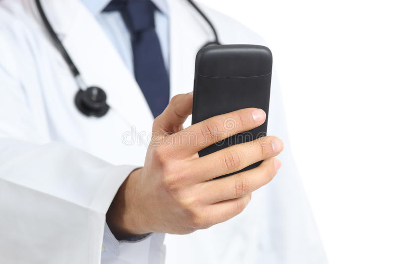 Close up of a doctor man hand holding and using a smart phone royalty free stock photo