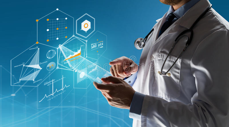 Close up of doctor with tablet pc and stethoscope royalty free stock photography