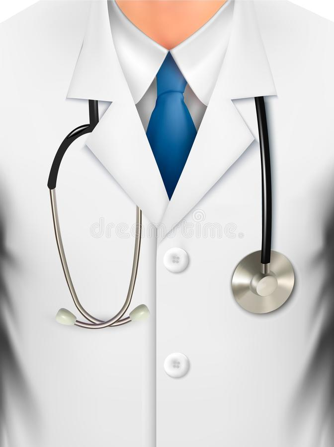 Close up of a doctors lab white coat and stethosco