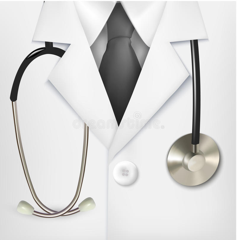 Close up of a doctors lab white coat and stethoscope. vector illustration