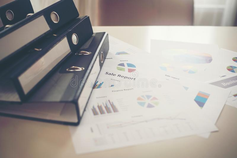 Close up document file and business chart waiting for business meeting stock image