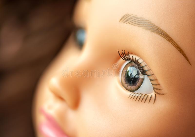 Close up of doll`s face. stock photography