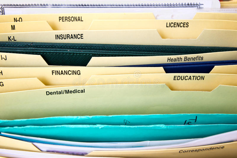 Close up of domestic personal files stock images
