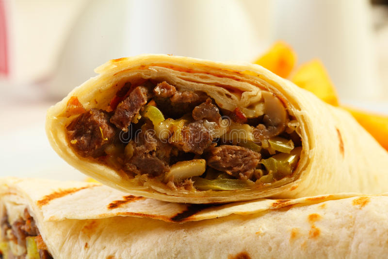 Close up of dorum doner kebab stock photography