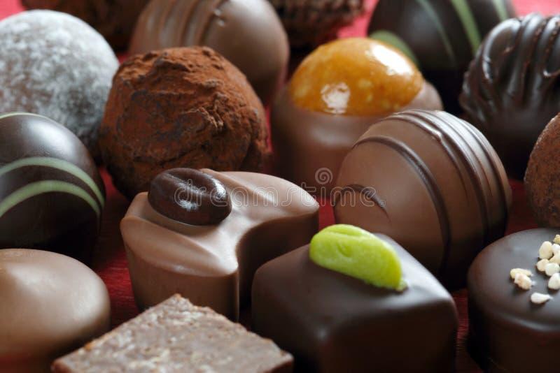 Close up dos chocolates fotos de stock