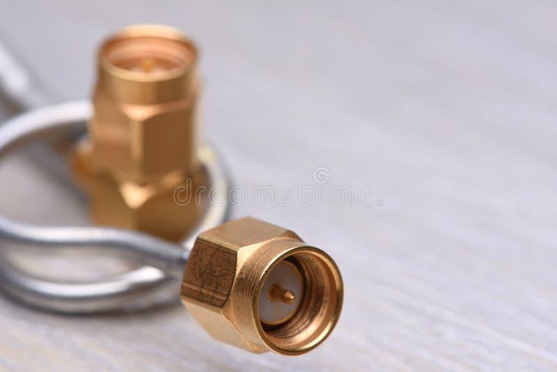 Close up dos conectores coaxiais fotografia de stock