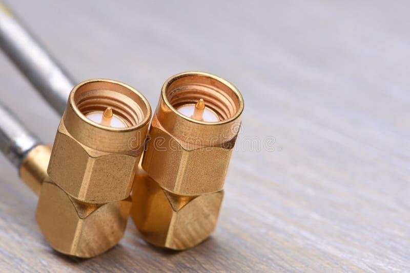 Close up dos conectores coaxiais foto de stock royalty free