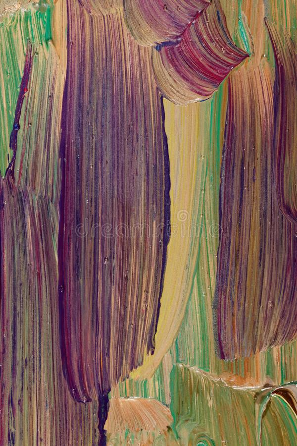 Close up dos escova-cursos do oilpainting foto de stock royalty free