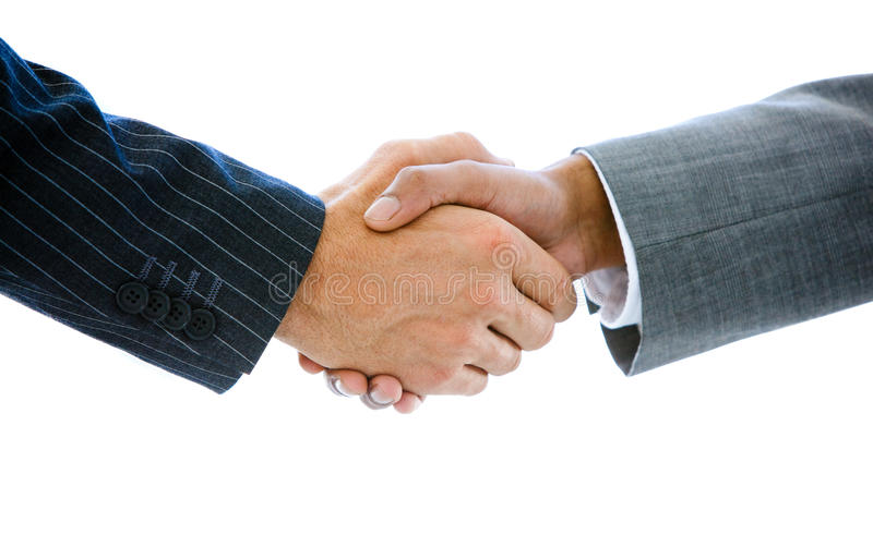 Close-up dos executivos que agitam as mãos imagem de stock royalty free
