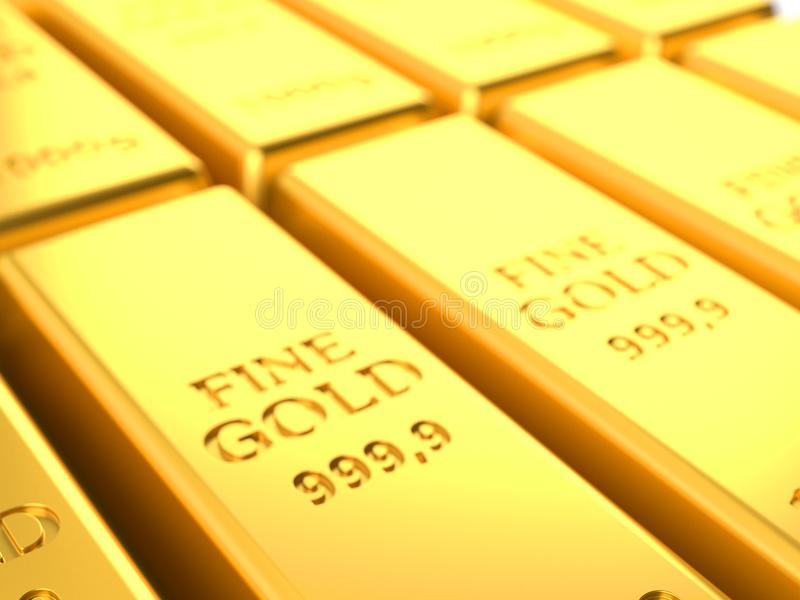 Close-up dos lingotes do ouro ilustração do vetor