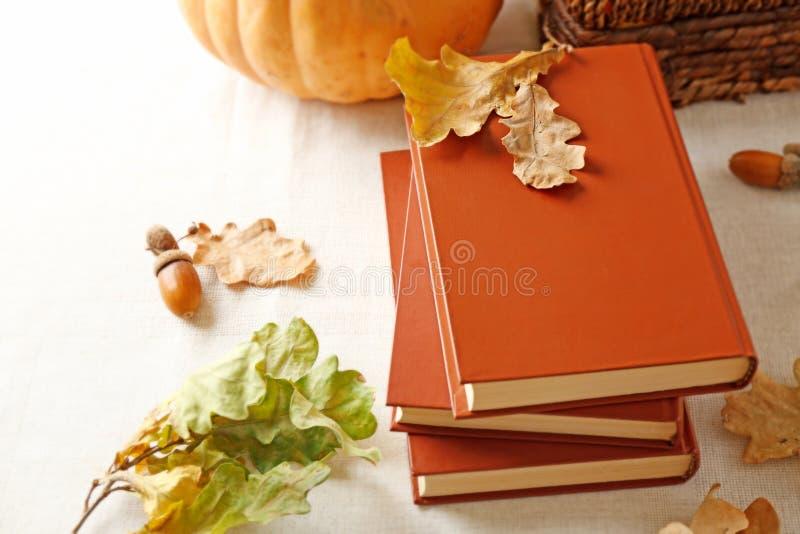 Close up dos livros e das folhas de outono fotos de stock royalty free