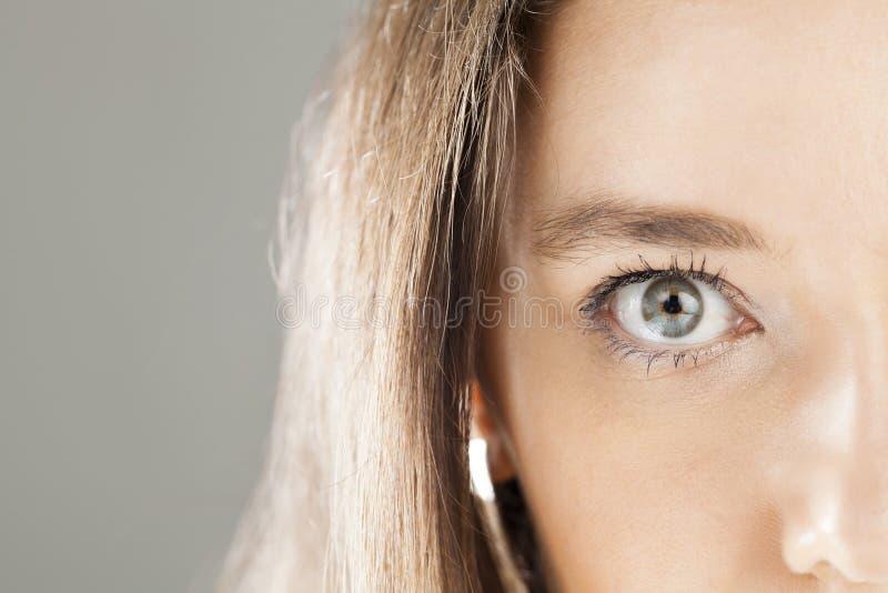 Close-up dos olhos azuis da mulher fotografia de stock royalty free