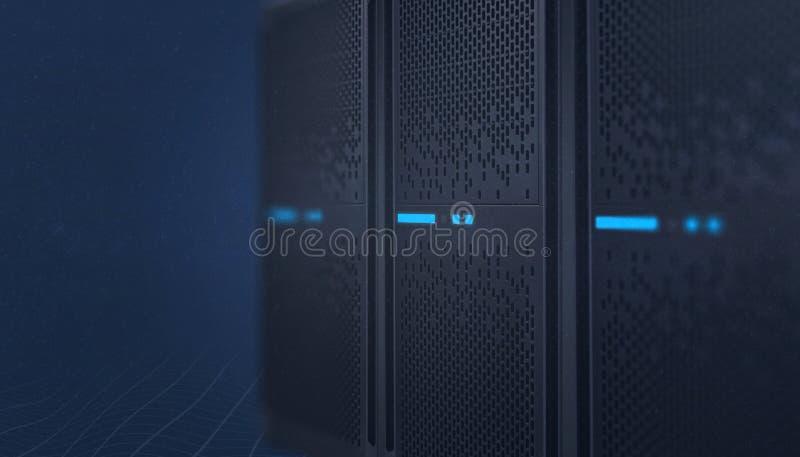 Close-up dos sistemas de dados Servidor da web, hospedando, conceito do painel de comando do voip imagem de stock