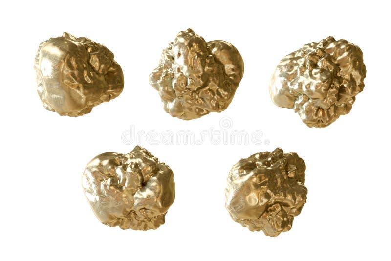 Close-up dourado das pepitas Isolado no branco rendição 3d ilustração royalty free