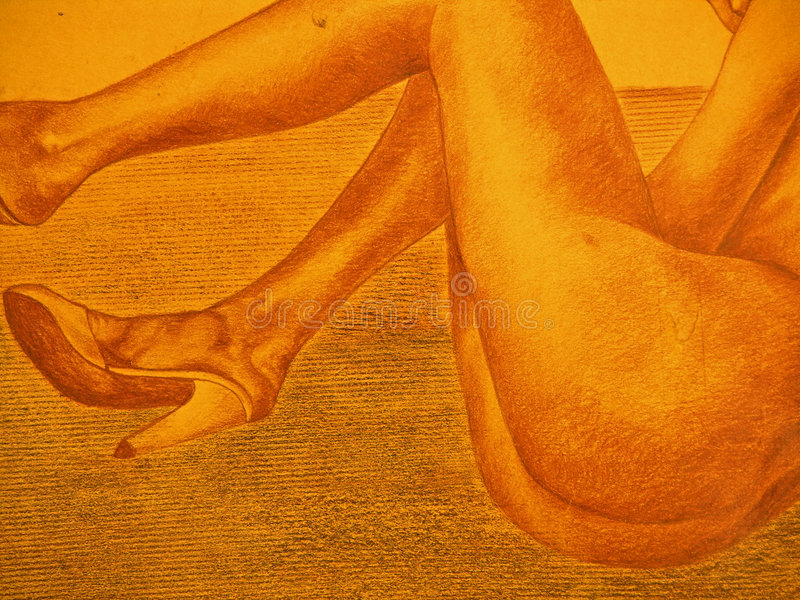 Close-up drawing of nude lady